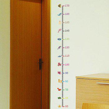 Cartoon Sea Fish Pattern Kids Height Measure Chart Wall Stickers