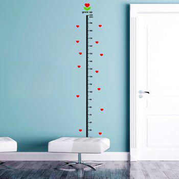 Kids Height Measure Chart Hearts Pattern Wall Stickers