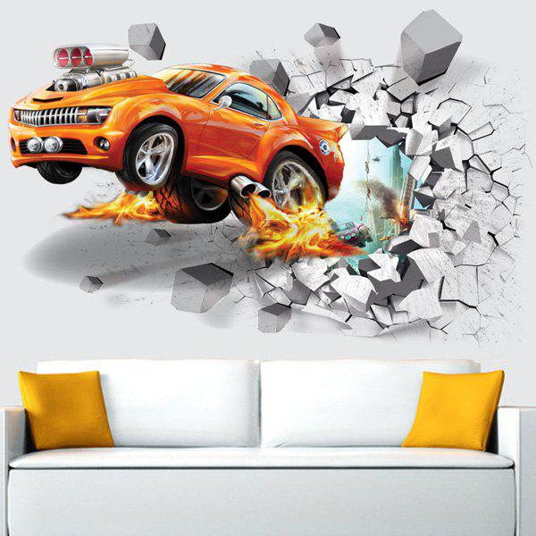 Afire Car Wall Broken Design Removable Wall Stickers - YOLK YELLOW 50*70CM