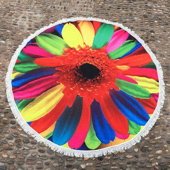 Colorful Sunflower Tassel Round Beach Blanket
