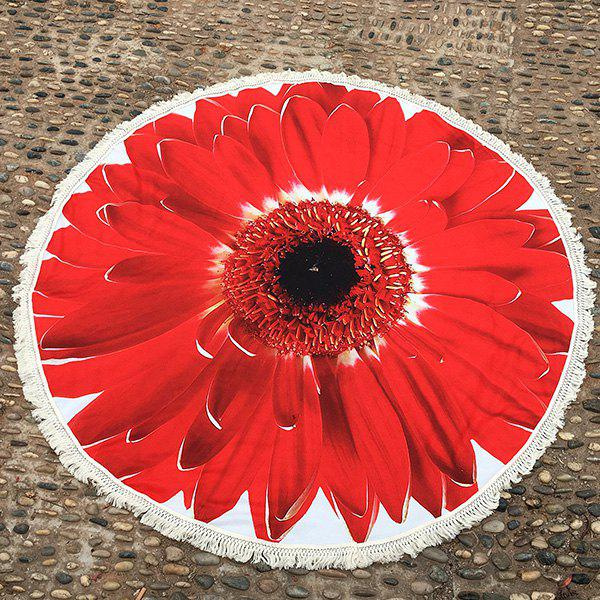 Tournesol Tassel Plage ronde Blanket - Rouge ONE SIZE