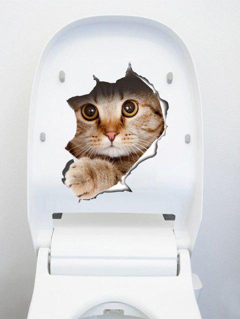 Creative Cat 3D Toilet Seat Wall Sticker - BROWN