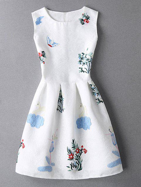 Sleeveless Jacquard Mini White Dress - WHITE XL