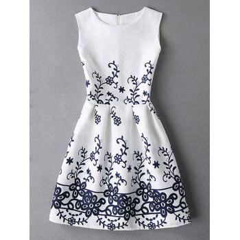 Sleeveless Flower Pattern Jacquard Dress