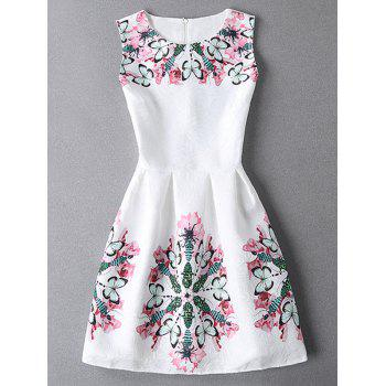 Sleeveless Butterfly Jacquard Mini Dress