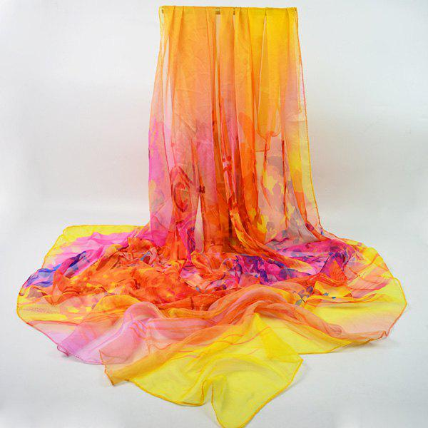 Oil Painting Print Chiffon Wrap Scarf - YELLOW