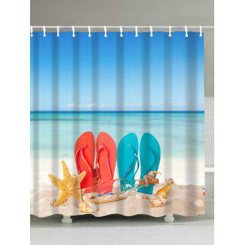 Waterproof Beach Lovers Shoes Fabric Shower Curtain