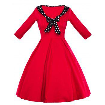 Vintage High Waist Polka Dot Bowknot Dress