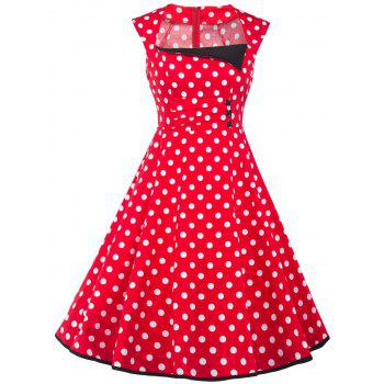 Square Neck Vintage Polka Dot Fit and Flare Dress