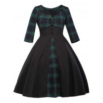 Sweetheart Neck Vintage Checked Fit and Flare Dress