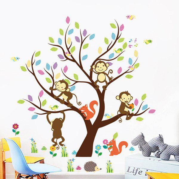 Cartoon Monkey Squirrel Wall Stickers - COLORMIX