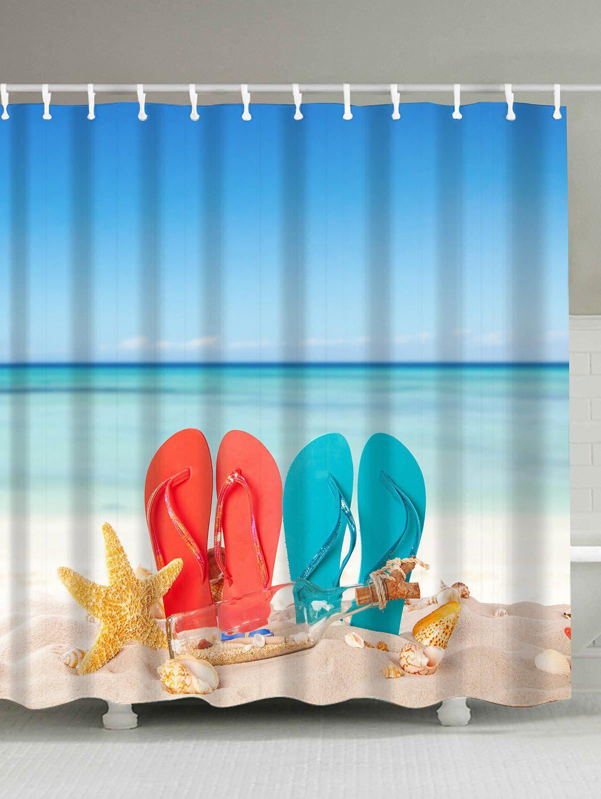Waterproof Beach Lovers Shoes Fabric Shower Curtain - COLORMIX 180*200CM