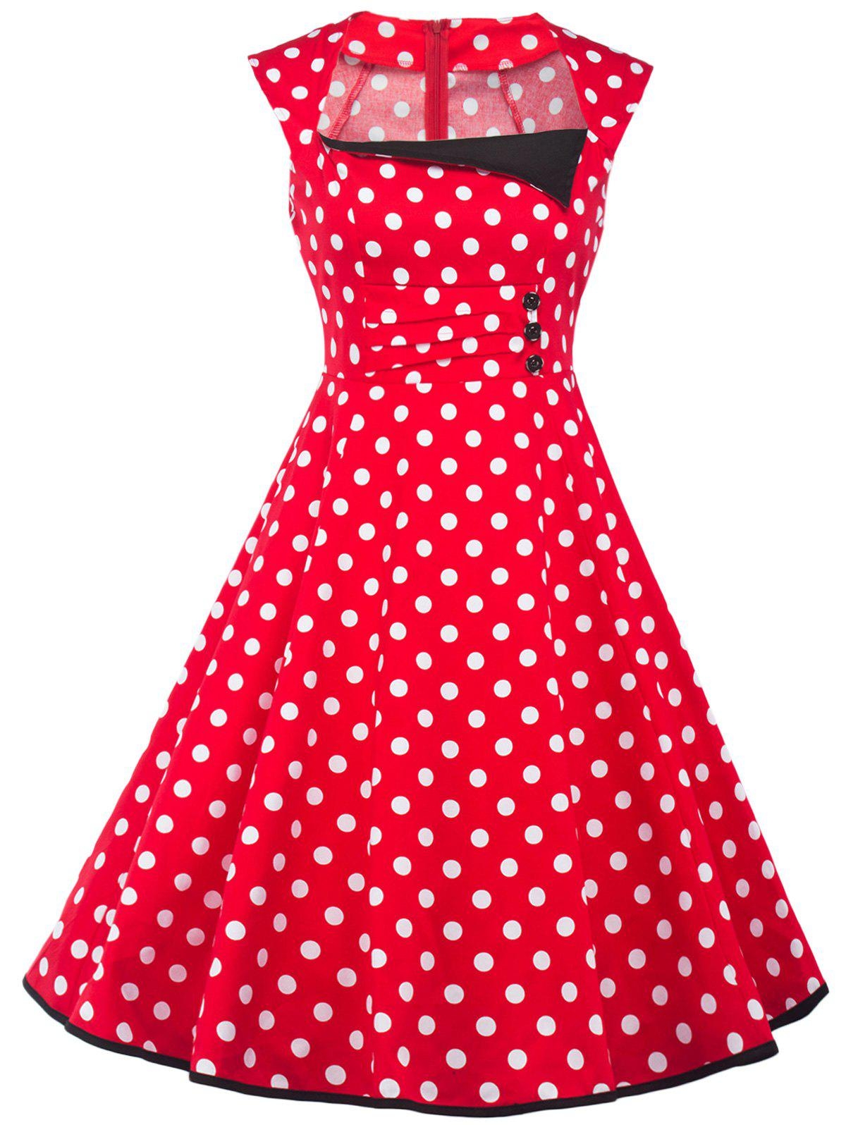 Square Neck Vintage Polka Dot Fit and Flare Dress - RED 2XL