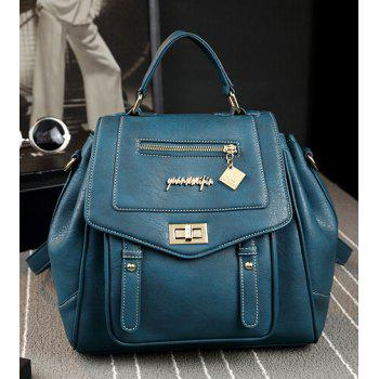Faux Leather Multi Way Backpack -  GREEN BLUE