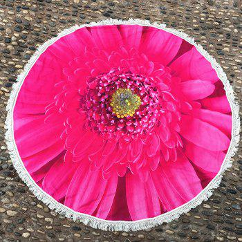 Big Sunflower Print Tassel Round Beach Cover Throw - ROSE MADDER ROSE MADDER