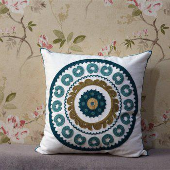 Round Mandala Embroidered Cotton Cloth Square Pillowcase