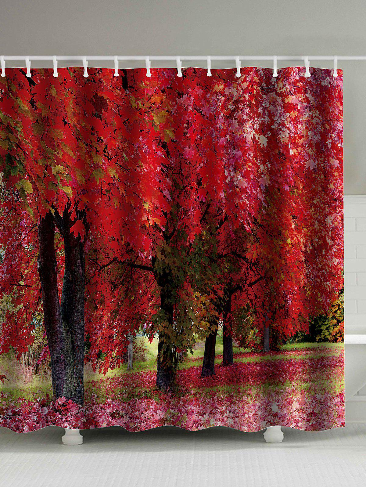 Tree Landscape Print Shower Curtain with Hooks - DEEP RED 180*180CM