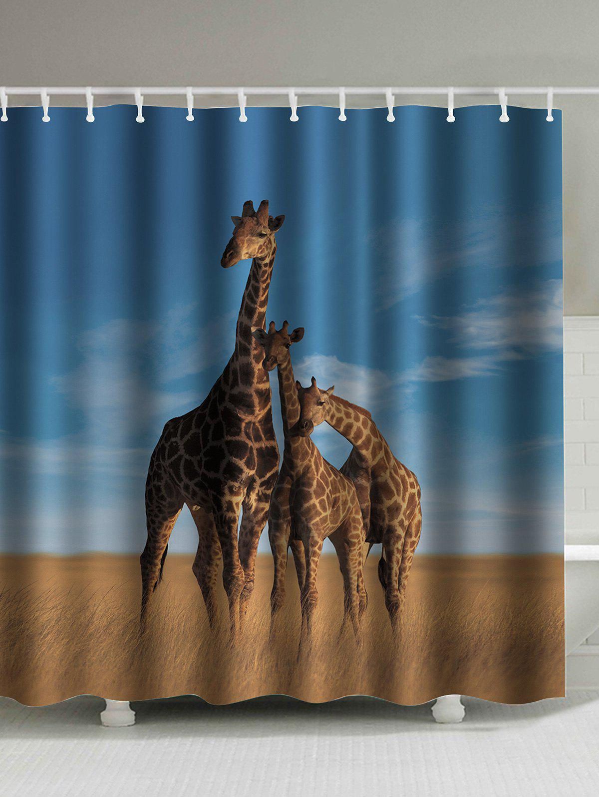 Waterproof Giraffe Print Polyester Shower Curtain