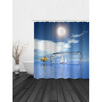 Drift Bottle Print Waterproof Shower Curtain - DISTANT BLUE 150*180CM