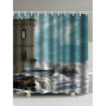 Seaside Old Castle Print Waterproof Shower Curtain