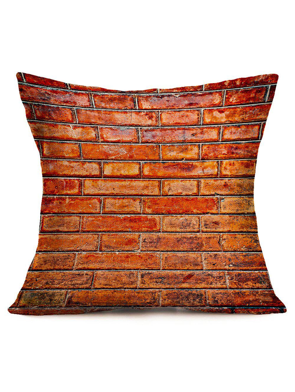 Natural Brick Print Square Pillow Case - BRICK RED 43*43CM