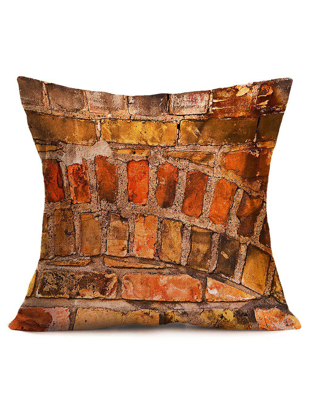 Natural Brick Wall Cotton Cloth Pillowcase - BRICK RED 43*43CM