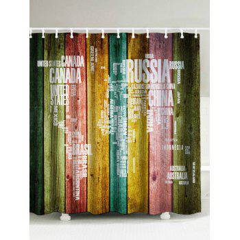 Plank Map Print Waterproof Shower Curtain