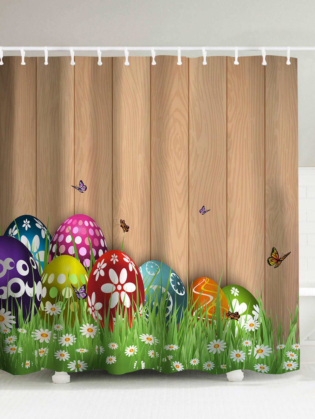 Easter Colorul Eggs Mouldproof Shower Curtain - LIGHT BROWN 150*180CM