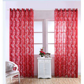 Home Decoration Leaf Embroider Tulle Curtain - RED 100*250CM