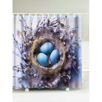 Bird's Nest Easter Egg Waterproof Shower Curtain