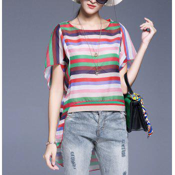 Asymmetrical Striped Blouse with Pendant