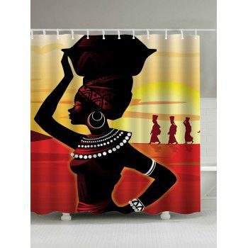 Afro Girl Waterproof Shower Curtain
