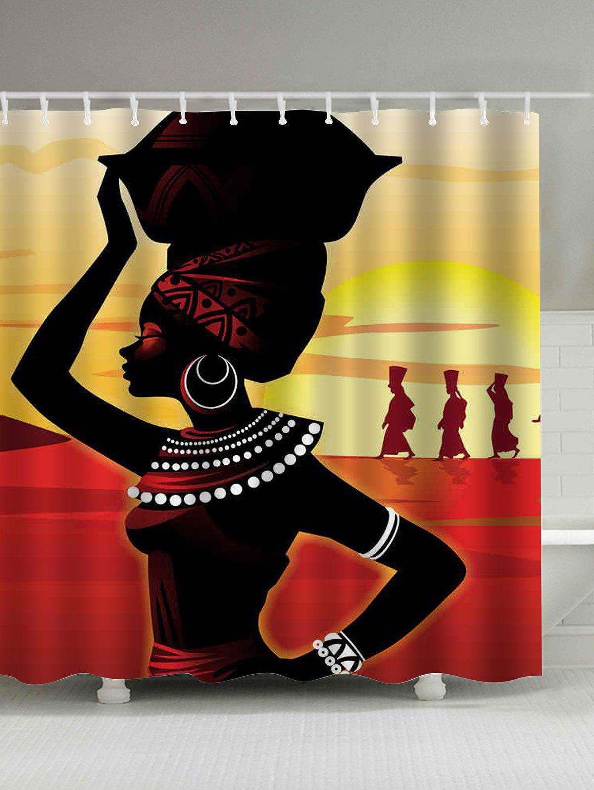 Afro Girl Waterproof Shower Curtain - COLORMIX 150*180CM