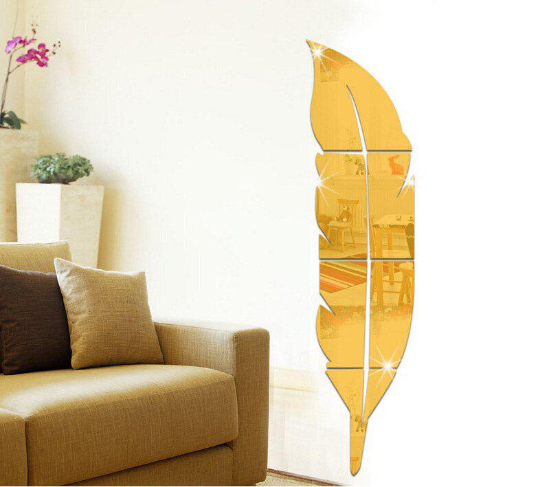 Removable Feather Mirrored Wall Sticker - GOLDEN 15CM*72CM