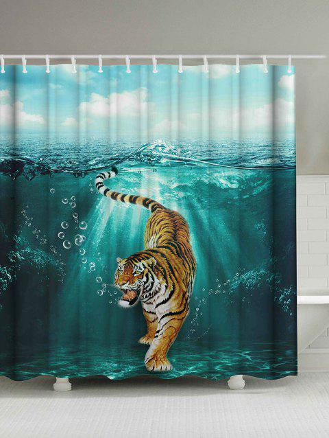 Waterproof Tiger Under Water Print Shower Curtain