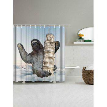 Sloth Climbing Leaning Tower Shower Curtain - COLORMIX W71 INCH * L79 INCH