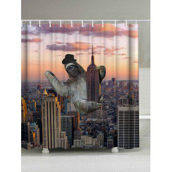 Sloth Climbing Empire State Building Shower Curtain