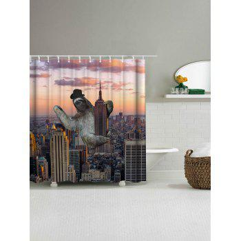 Sloth Climbing Empire State Building Shower Curtain - COLORMIX W71 INCH * L71 INCH