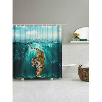 Waterproof Tiger Under Water Print Shower Curtain - COLORMIX W59 INCH * L71 INCH
