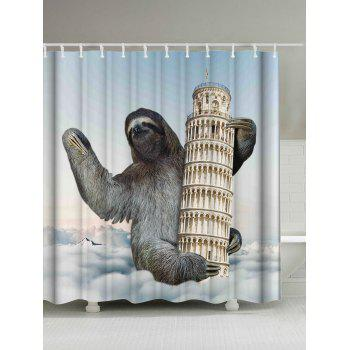 Sloth Climbing Leaning Tower Shower Curtain