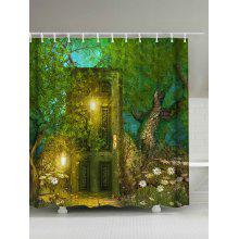 Retro Forest Door Waterproof Shower Curtain