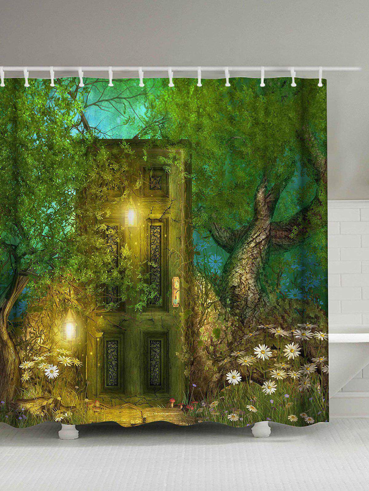 2018 retro forest door waterproof shower curtain green w for Forest green curtains drapes