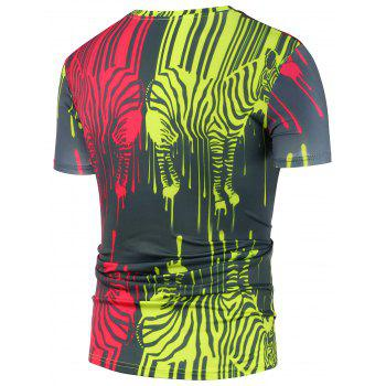 Colorful Zebra Splatter Paint T-Shirt - 2XL 2XL