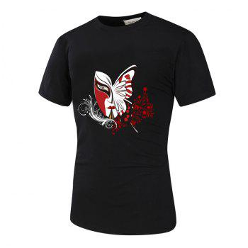 3D Mask Floral and Butterfly Print Novelty T-Shirt