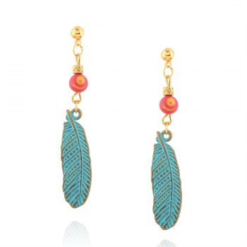 Alloy Feather Beads Earrings