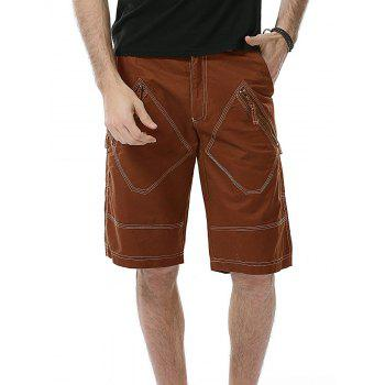 Multi Pockets Zip Fly Bermuda Shorts - BRICK-RED BRICK RED