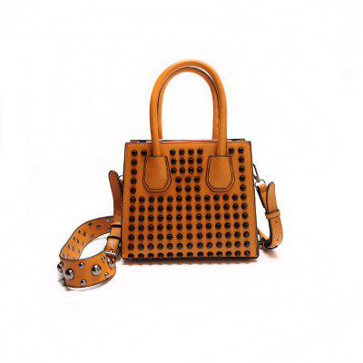 PU Leather Rivets Convertible Totes - BROWN