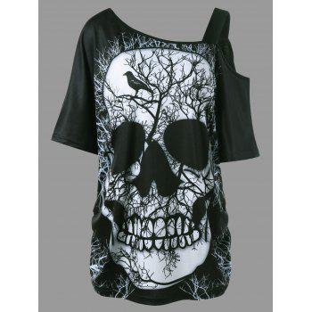 Skew Collar Shirred Side Skull T-shirt