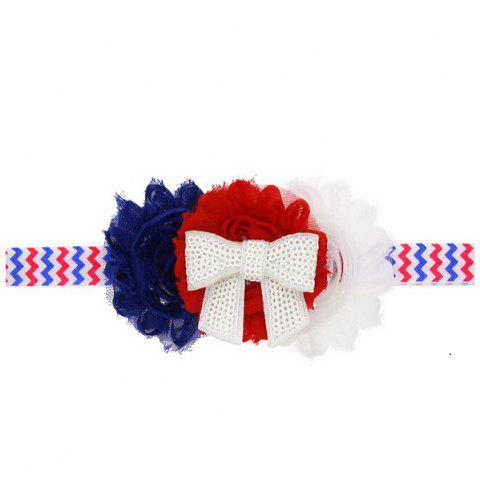 Independence Day Baby Kid Floral Headband American Flag Chiffon Rhinestone Shabby Satin - COLORMIX RED AND BLUE STRAP