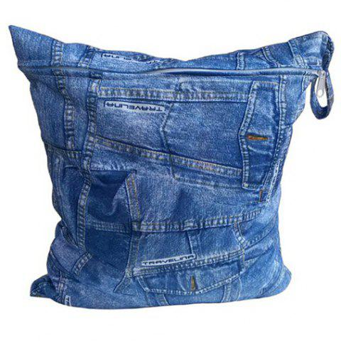 Baby Jeans Style Diaper Cotton Training Pants Cover with Zipper - BLUE